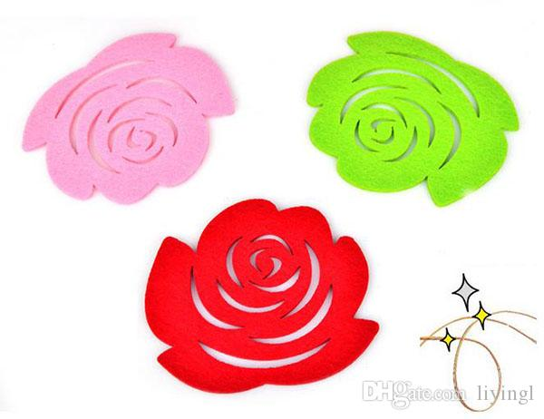 Mug Coaster Table Mats wedding rose Pads romantic Party Decorations Home non-woven 12cm Antiskid colorful Placemats Valentines Day gifts
