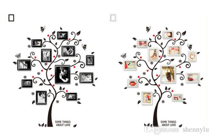 DIY Family Photo Frame Tree Wall Sticker Home Decor Living Room Bedroom Wall Decals Poster Home Decoration Wallpaper Factory Wholesale