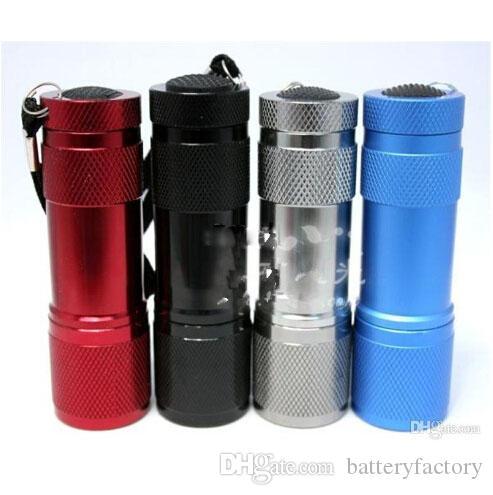 9 LED 미니 토치 4 색상 미니 LED 손전등 300LM UV LED 캠핑 손전등 토치 방수 손전등 램프 배터리 전원 횃불