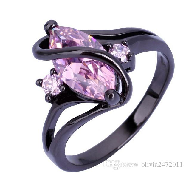 Black Gold Filled 10KT Pink Sapphire Rings For Women Lady's Gift Ring Fashion Wedding Jewelry MN