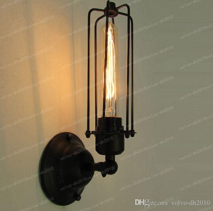 110-220v 로프트 미국 국가 산업 스타일 철 레트로 작은 케이지 벽 램프 빈티지 산업 조명 LLFA1084