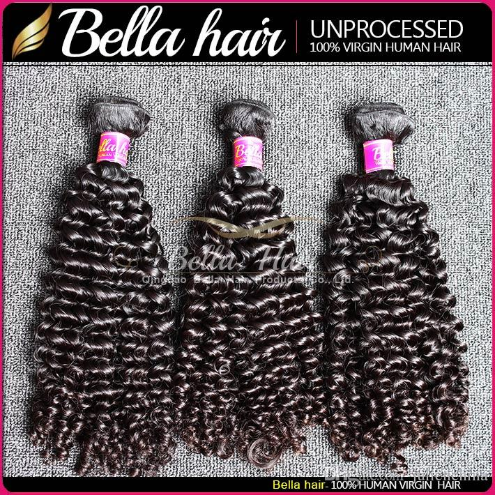 BellaHair® Unprocessed 8A Brazilian Bundles Virgin Hair Extensions Human HairWeave Natural Color Body Straight Loose Wave Curly
