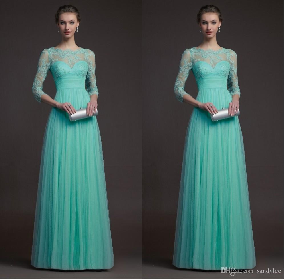 Top lace and tulle turquoise bridesmaid dresses with long sleeves see larger image ombrellifo Choice Image