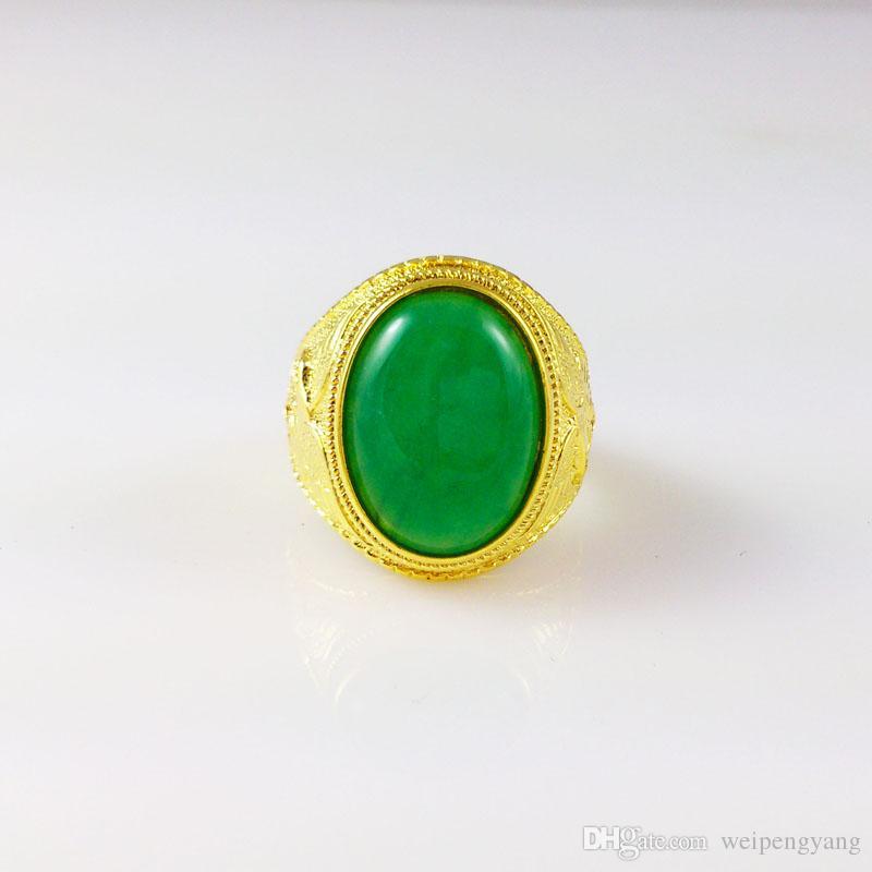 18k золото заполненные мужские кольца Китай зеленый нефрит высокого класса атмосфера широкий 14мм размер 9 10 11 обручальное кольцо