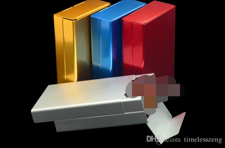 New Arrival Sliding Cigarette Storage Box Push And Pull Cover Metal Automatically Aluminum Cigar Cigarette Tobacco Holder