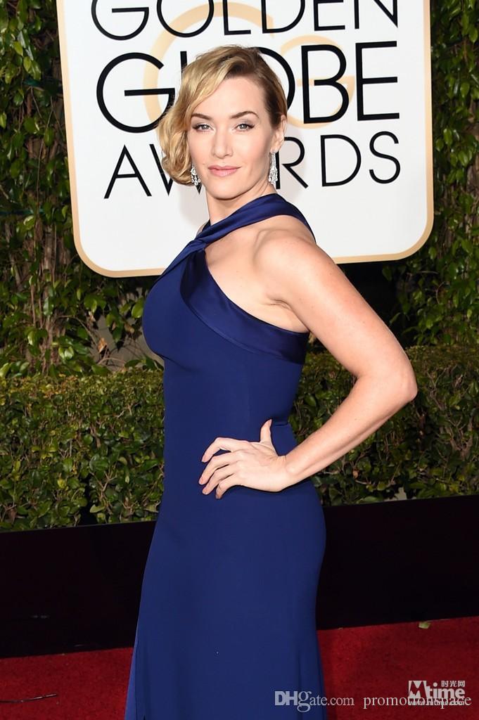 2016 Kate Winslet Vestidos de Tapete Vermelho 73rd Globo de Ouro Globo Prêmios Celebridade Vestidos 2016 High Neck Split Side Sereia Enterro Vestidos de Prom