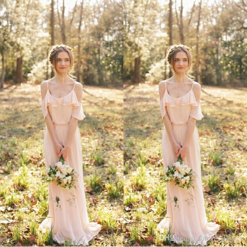 6bd61352f738 Spaghetti Strap Sexy Blush Pink Chiffon Bridesmaid Dresses Long Bohemian  Ruffles Beach Wedding Maid Of Honor Maxi Gowns Custom Made Cheap Strapless  ...