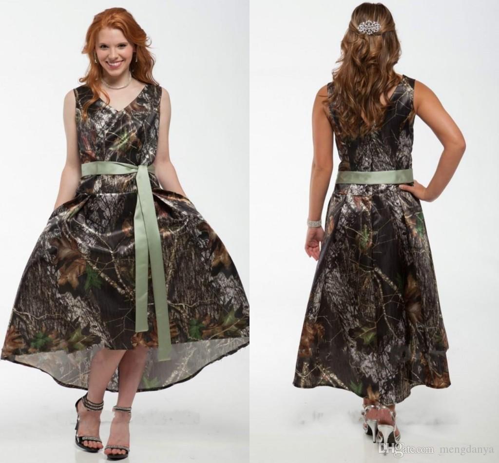 2019 Camo Short Camo Prom Dress V Neck Tea-Length Camouflage Bridal Gowns Wedding Party Dresses with Satin Sash bridesmaid m46