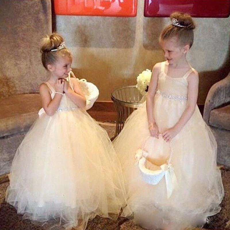 Champagne Flower Girl Dresses Spaghetti Strap Cathedral Trains ...
