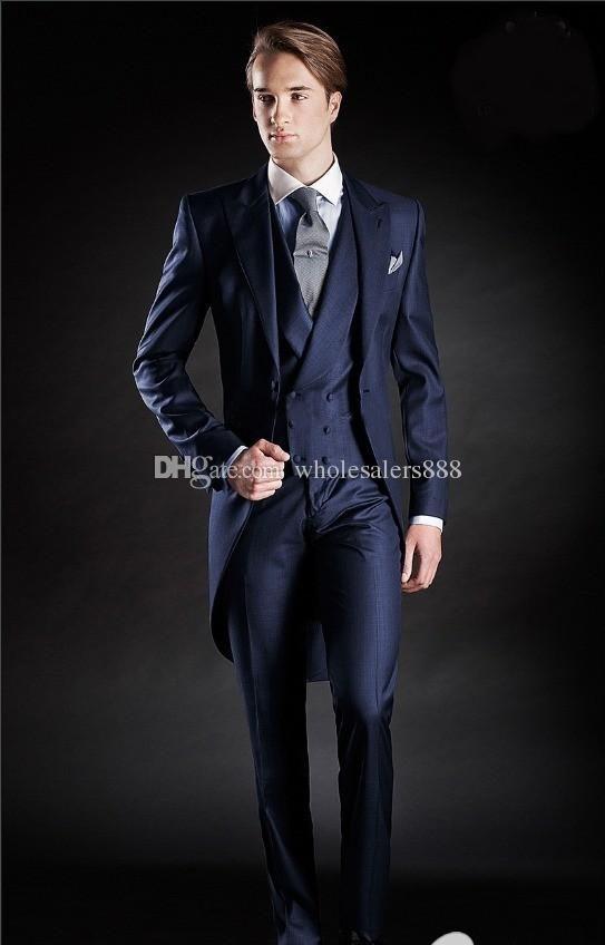Slim Fit Morning Style Groom Tuxedos Peak Lapel Men's Suit Navy Blue GroomsmanBest Man WeddingProm SuitsJacket+Pants+Tie+Vest