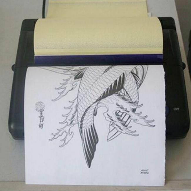 Tatuagem máquina de transferência térmica estêncil de papel preto e prata cor para profissional