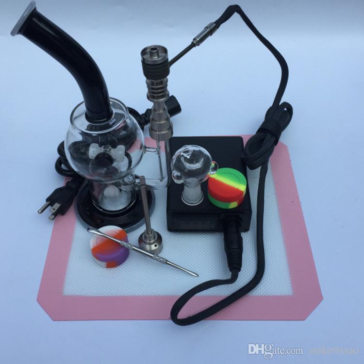 2016 Glas Bong Kitscontrol Box + Titanium Nail 16mm 6in1 + Siliconen DAB MAT + Siliconen potten + Wax Tool Kits Gratis DHL