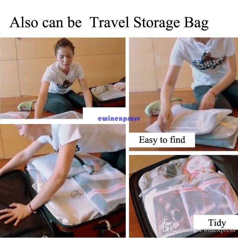 3 adet / takım Pratik kumaş fermuar çamaşır torbaları sepet sepetleri sepet örgü net net organizatör depolama çamaşır maki ...