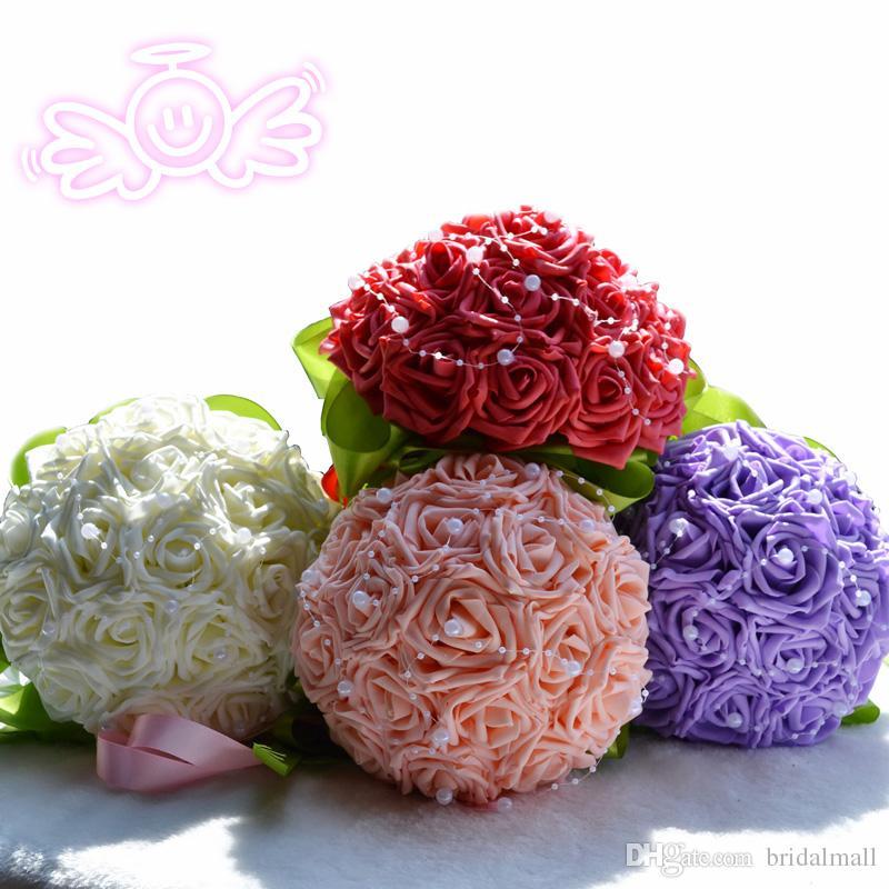 İpek Gül purle Fildişi Pembe ve Kırmızı 18 adet HY ile 2018 Güzel Düğün Gelin Buketi Düğün Dekorasyon Gelinlik Çiçek İnciler