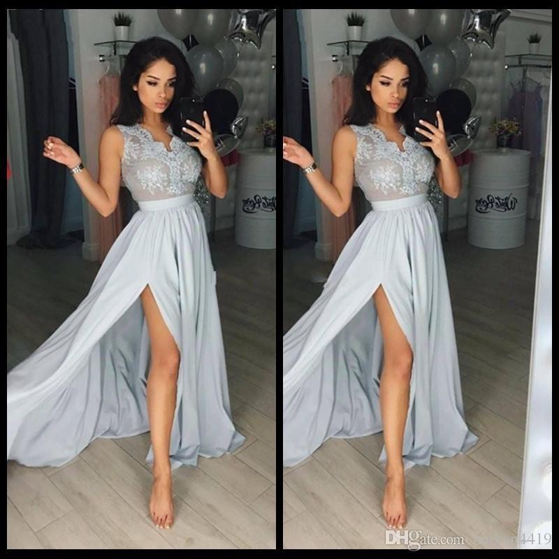 9e56ead259b5 Arabic Evening Dresses Long Lace 2018 V Neck Illusion Side Split Appliques  Chiffon Long Carpet Celebrity Dresses Party Great Gatsby Gowns White Evening  ...