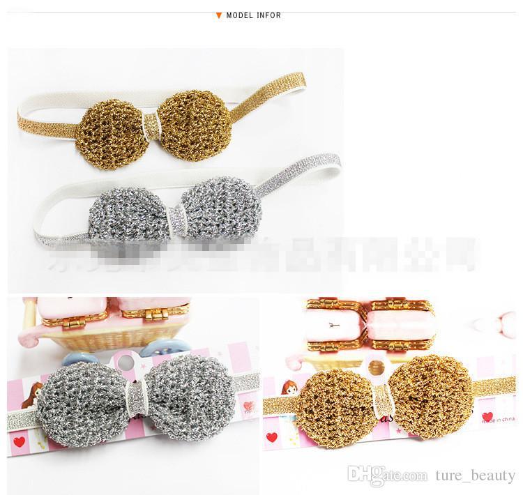 SALE! New Cartoon Hair Clip Hair Band Kids hairpins Hair Accessories kids gifts Gold and silver thread hook weaving hair ribbon bow