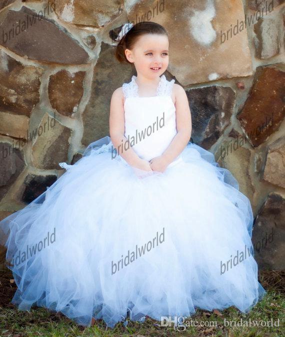 Weiß Kleinkind Ballkleid Tulle Blumenmädchen Kleider Criss-Kreuz zurück Spitze Straps Rüschen Kinderkleider für Hochzeit Fairy Pure Flowergirl Kleider