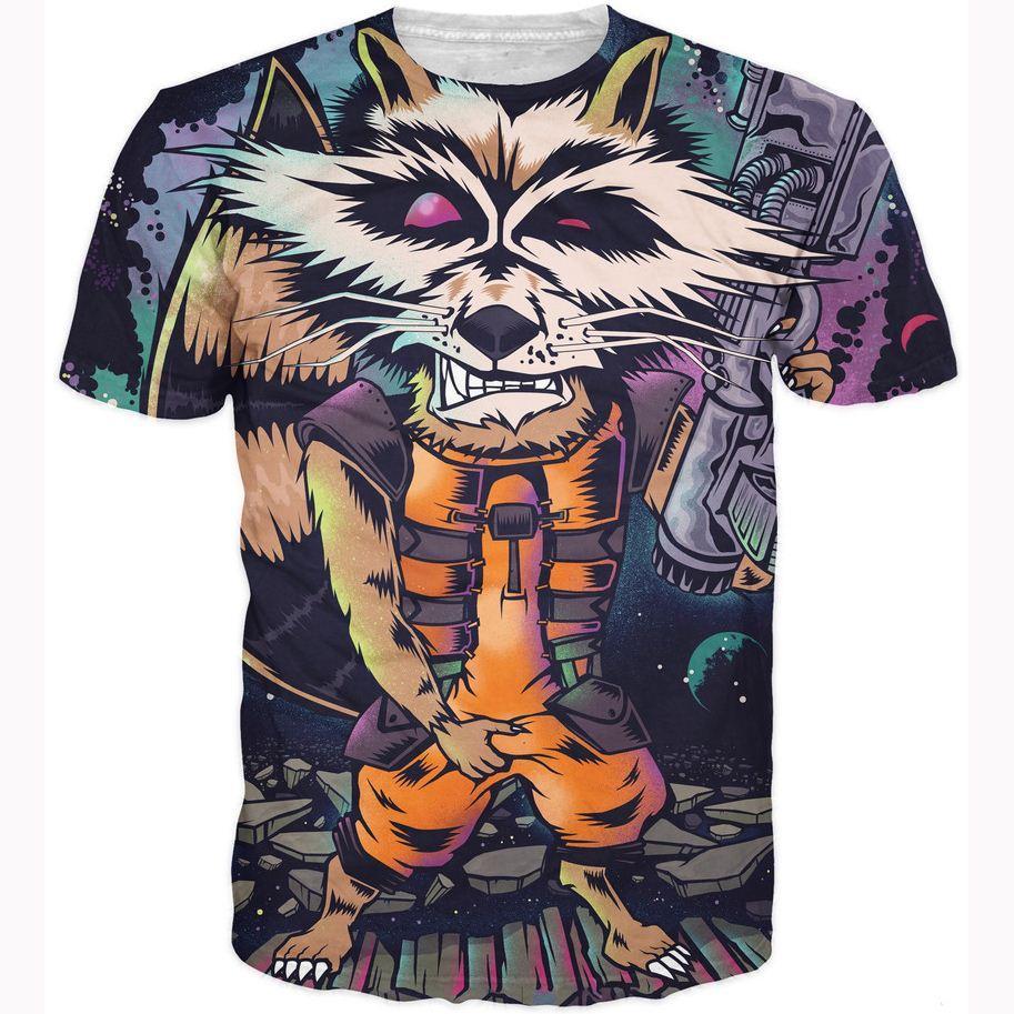 T shirt design hip hop - Rocket Raccoon T Shirt Harajuku Punk T Shirts Vintage Rock Hip Hop Tops Tees Cartoon Tiger 3d T Shirt Women Men Fashion Tshirts Ladies T Shirts Shirts
