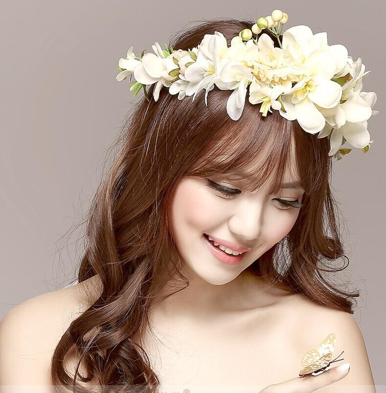 New Women Wedding Rose Flower Wreath Headband Kids Party Floral Garlands  with Ribbon Adjustable Flower Crown Hair Accessories Headband Supplies  Headband ... 9e33421232f