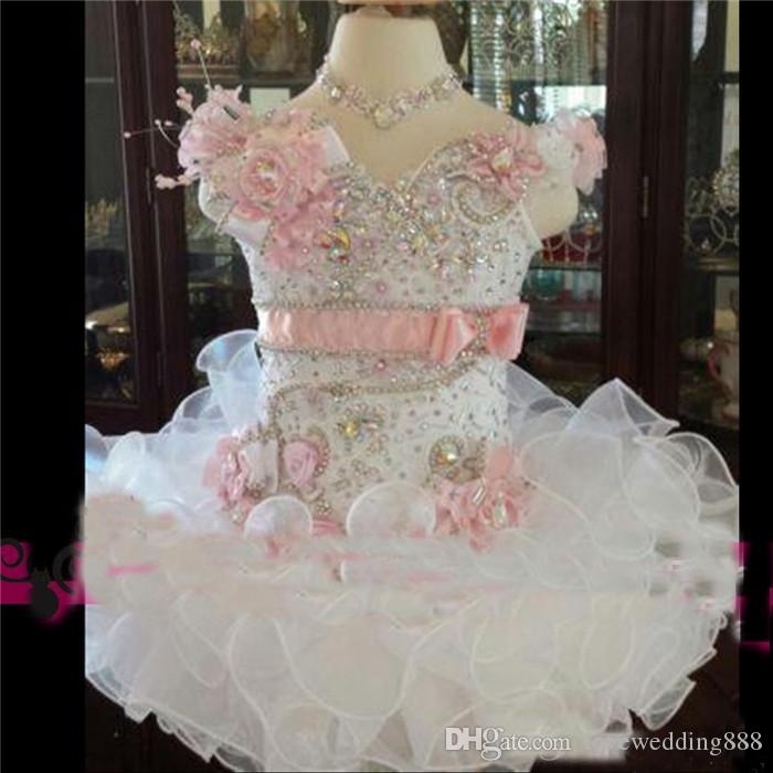 Beauty Cute White And Pink Toddler Girls Pageant Dress Organza Beads Tiered Cupcake Prom Party Baby Little First Communion Ball Gown