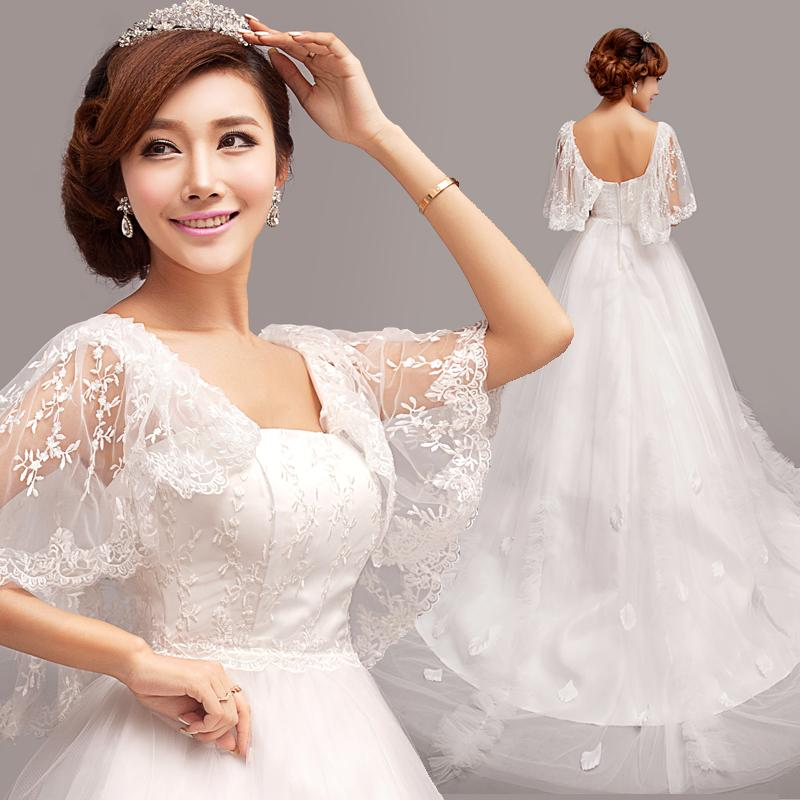 French Lace Butterfly Sleeve Princess Bride Trailing Wedding Dress 2014 Slim New Winter 9011 Bridal Wear Brides Dresses From Sunrise20123 11458