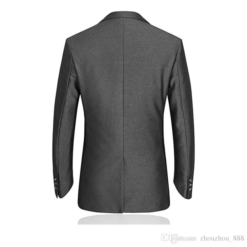 High Quality Men Suit Latest Coat Pant Designs Slim Fit Men's Suit Terno Masculino Plus Size Wedding DressJacket+Pant Gray Hot