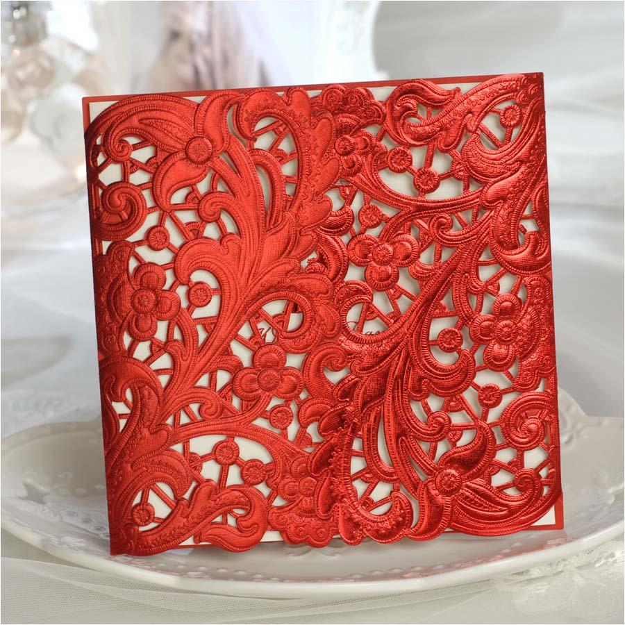 Free Red Personalized Printing Laser Cut Wedding Invitation Cards ...