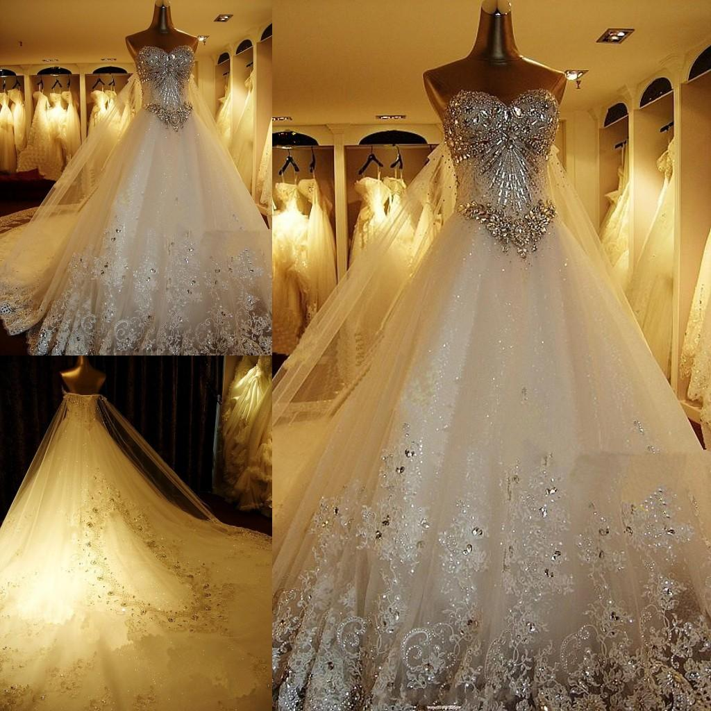 Luxurious Crystal Diamond Bling Wedding Dresses Sparkling Long Tailing Sweetheart Ball Gowns Lace Up Corset Bride Dress Sexy Gown: Rhinestone Ballroom Wedding Dresses At Reisefeber.org