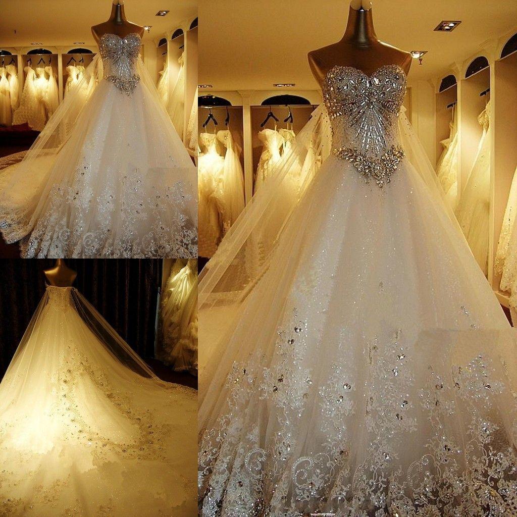 Großhandel Luxuriöse Kristalldiamant Bling Brautkleider Sparkling ...