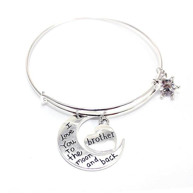 New Charming Family Charms Alex And Ani Bangle With Grandma Dad Mom Brother Son Daughter Letter Heart Pendant Love Jewelry Bangles Horse Charm