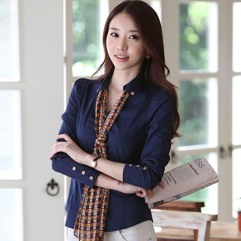 08285c7ed095c3 2019 2016 New Fashion Women'S Blouse Cotton Chiffon Long Sleeve Tops V Neck  T Shirt Girls Korean Slim OL Work Shirt Cheap Clothes China From  Chenjilian3, ...