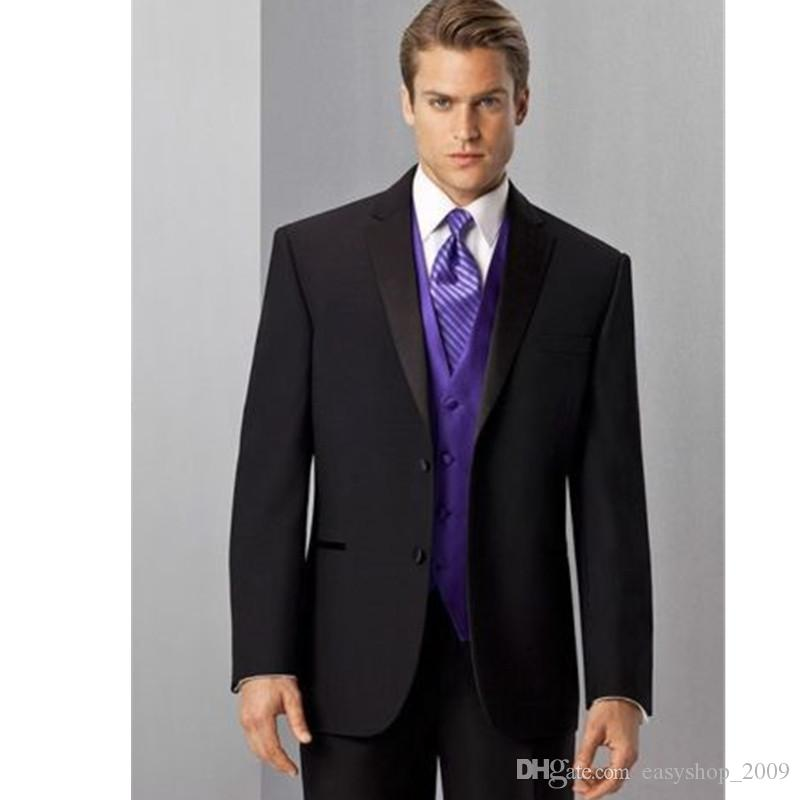 New custom black lapel men's suits purple vest wedding suits groomsmen tuxedo 3 factory custom made