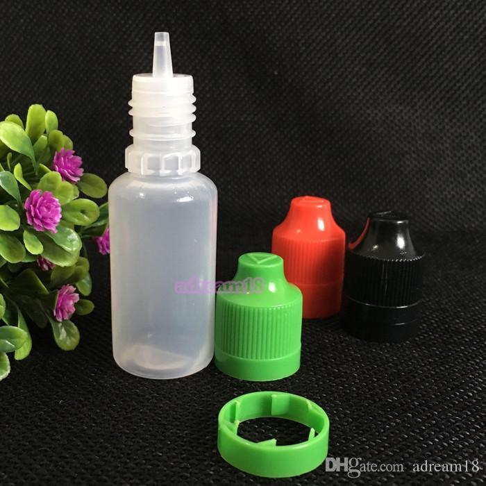 botella de 15 ml e jugo para cigarrillos electrónicos de alta calidad de manipulación botellas de líquidos prueba E 15 ml frascos cuentagotas de plástico para la venta