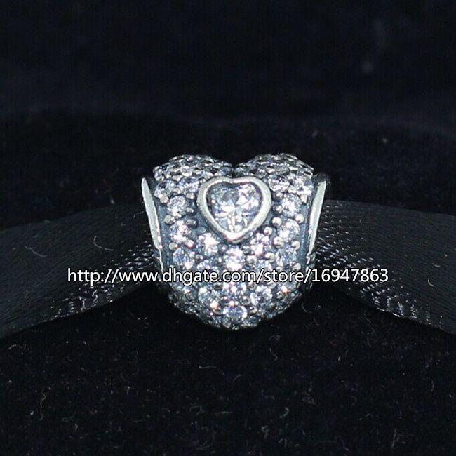 S925 стерлингового серебра в моем сердце Шарм шарик с ясно Cz подходит Европейский Pandora ювелирные изделия браслеты ожерелья кулон