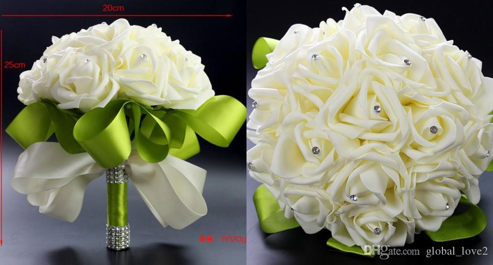 Fashion Foam Flowers Wedding Bouquets Cheap Crystal Artificial ...