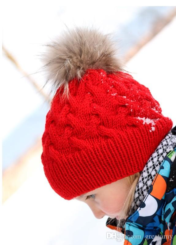Kids Winter Knitted Hat Pompom Ball Warmer Wool Fur Baby Boys Girls Caps Crochet Knitted Hats Skull Caps Pompom Beanies