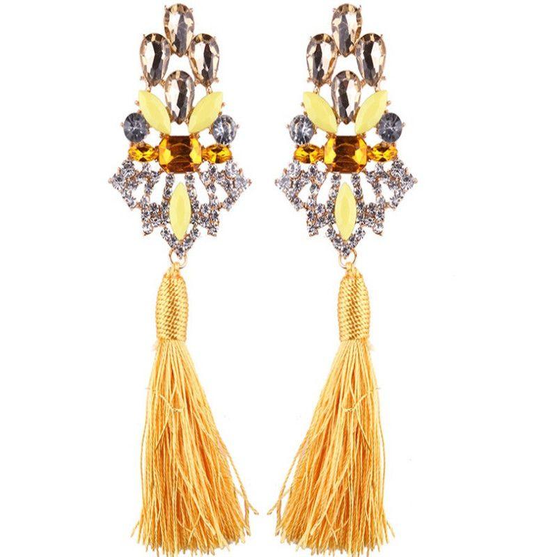 New Boho Style Big Shining Gemstone Crystal Long Fringed Statement Dangle Earrings For Women Fashion Tassel Drop Earring