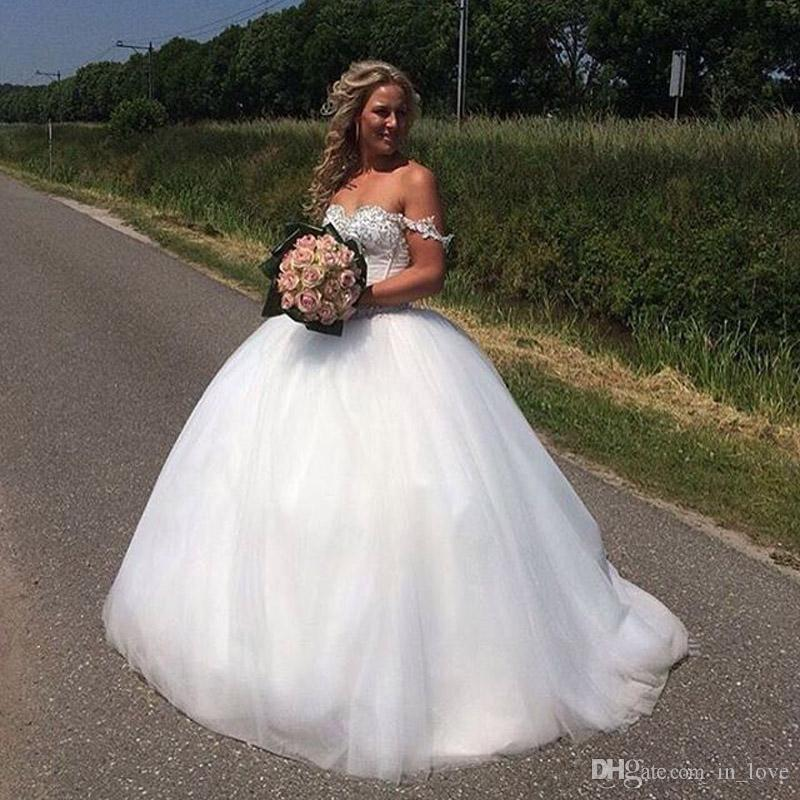 15b6a4fd2b5 Ball Gown Princess Wedding Dresses Off Shoulder Sparkly Beading Sequins  Applique Tulle Floor Length Bridal Gowns Custom Size