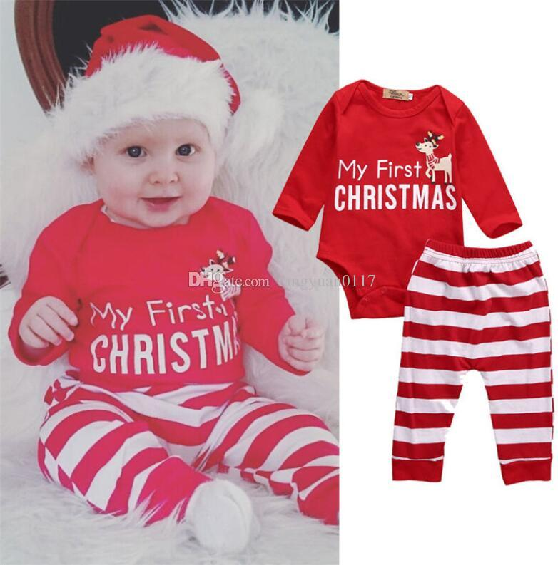 Newborn Baby Girl Clothes Infant Christmas Pajamas Children S Winter  Rompers Overalls Outfits+Pants Outfits Deer Striped Canada 2018 From  Tangyuan0117 7d64b72e0