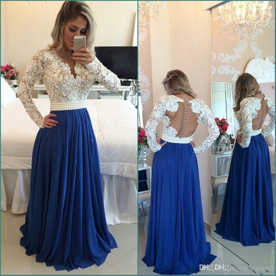 20f58d1ea5 2019 Muslim Islamic Lace Long Prom Dresses V Neck Chiffon Floor Length Chiffon  Long Sleeves Evening Dresses Custom Made Party Gowns Canada 2019 From ...