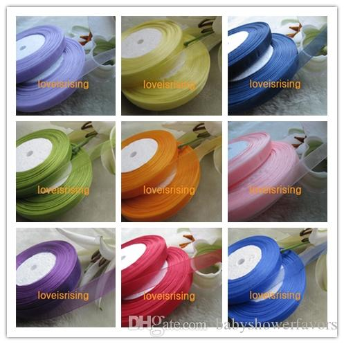 100 Yards 300 ft 3/8'' 10mm Double Face Apple Green/Black/Aqua Blue Color Sheer Organza Ribbon Wedding Party Favor Decoration Craft