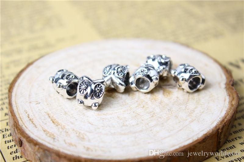 Cute Owl Alloy Charm Bead Fashion Women Jewelry Stunning Design European Style For Pandora Bracelet Necklace