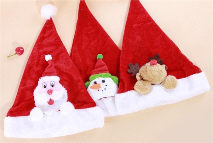 Christmas Hat.Christmas Cap Hats Plush Pleuche Santa Caps Merry Christmas Santa Claus Hat Cap Red Xmas Christmas Hat Cap Gift 38 28cm Adults Kids Ps47