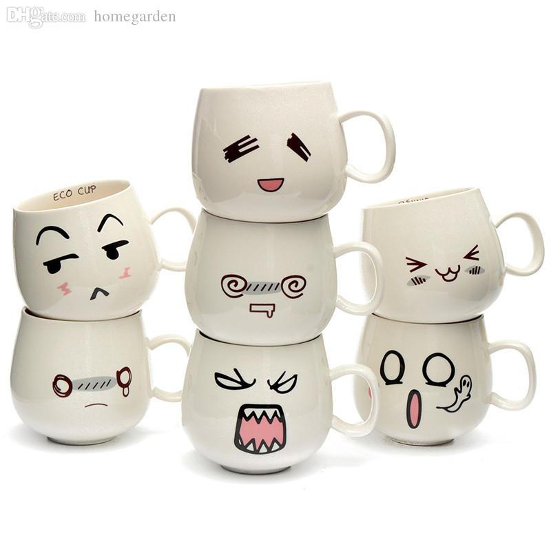 Superb Wholesale New Arrival Fun Lovely Cute White Pottery Ceramic Cup Cute Face  Mug Tea Coffee Milk Cup With Handgrip 300ml Cup Ceramic Cup Filling Cup  Kitty ...