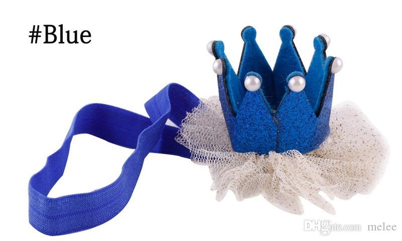 2016 Baby Kids Girls 3D corona diadema bebé princesa reina perla tiara banda de pelo diadema corona de encaje sombreros