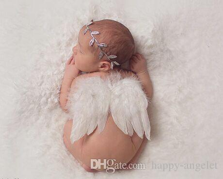 baby baby olijfbladeren blad hoofdband witte veer engel vleugel couture newbron doopsel haarband fotografie rekwisieten set YM6129