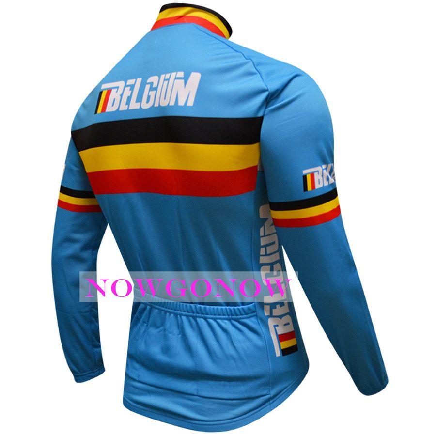 2016 ciclismo jersey Belgio vestiti a maniche lunghe abbigliamento abbigliamento bici equitazione MTB strada ropa ciclismo NOWGONOW uomini full zip strada montagna estate
