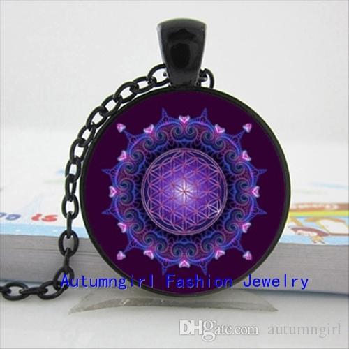 NS - 00484 Collier Fleur de Vie Fleur de Vie Pendentif Mandala Bijoux Verre Dôme Pendentif Collier
