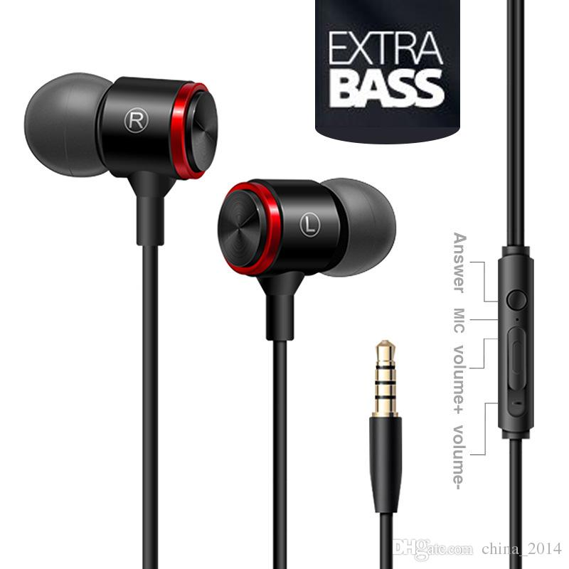 wire earphone metal bass straight PC headset in-ear sports headphones selling explosions with retail box universel for phone