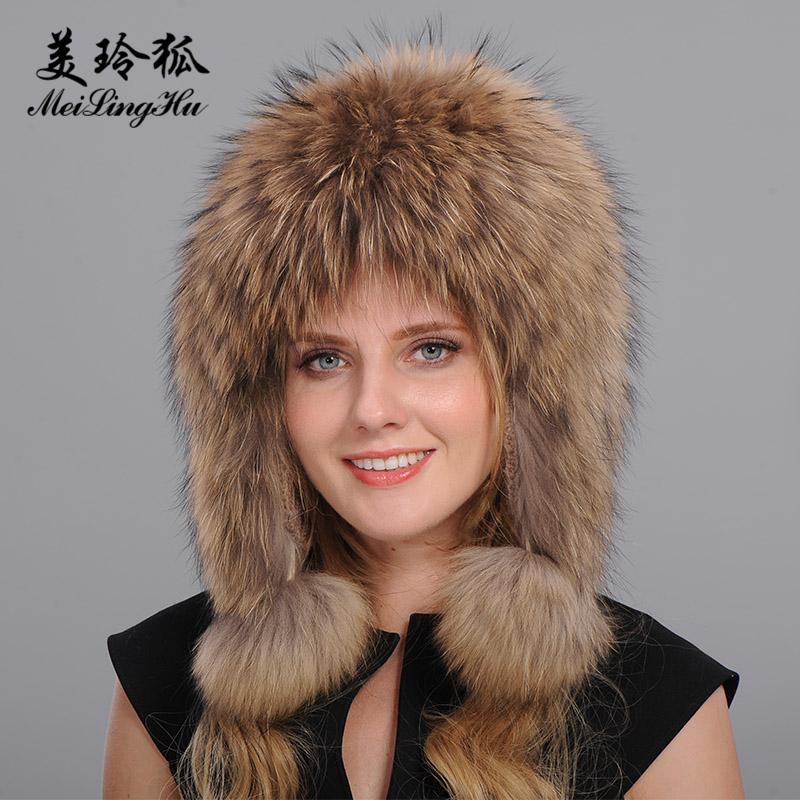 Wholesale- Women Genuine Fox Fur Hats Caps Female Bomber Hat Trendy ... bd470fc82b33